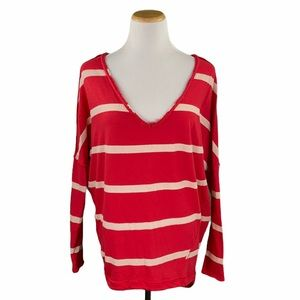 We The Free Upstate Red Striped Dolman Sleeve Tee